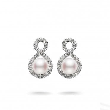 Ruyi 18ct White Gold Pearl & Diamond Drop Earrings