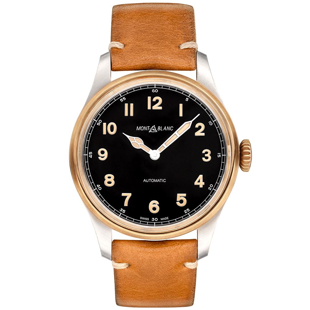 e0e964b3cf7 Montblanc 1858 Bronze Case 44mm Black Dial & Leather Strap Men's Watch