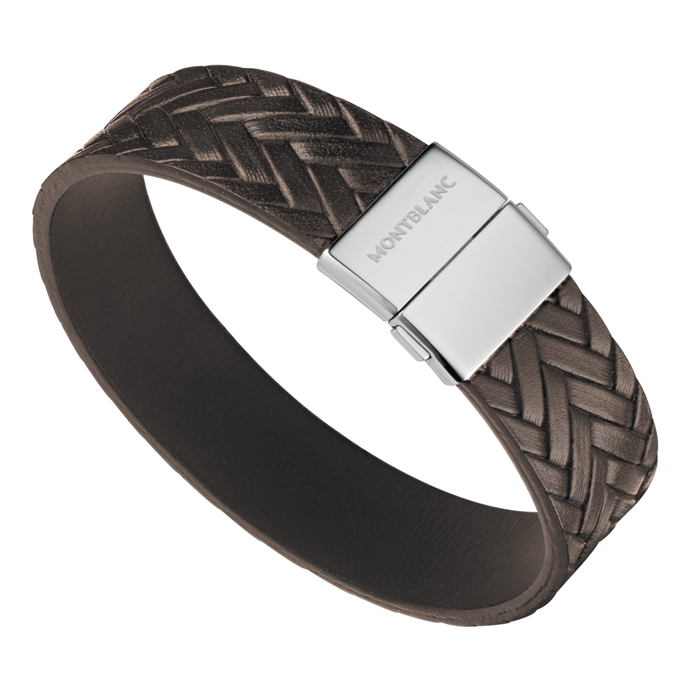 mont blanc mens bracelet montblanc brown leather steel bracelet 11497863 at berry s 7562
