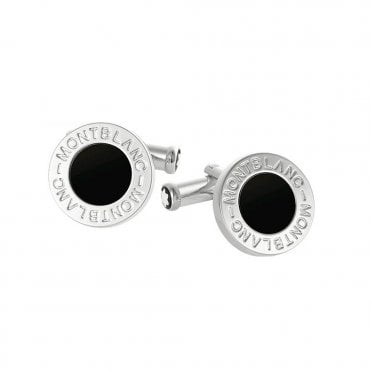 Classic Collection Onyx & Platinum Plated Round Cufflinks