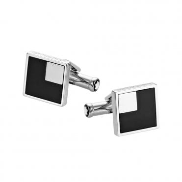 Iconic Collection Onyx & Steel Square Cufflinks