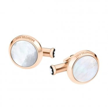 Meisterstuck Red Gold Coloured Steel & Mother of Pearl Cufflinks