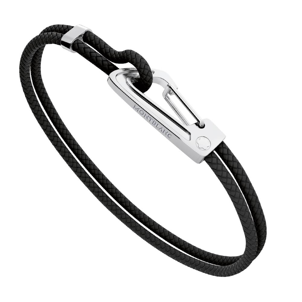 montblanc black leather steel bracelet 11499063 at berry 39 s jewellers. Black Bedroom Furniture Sets. Home Design Ideas