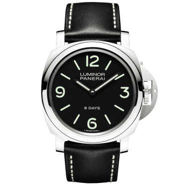 Luminor Base 8 Days Black Dial & Leather Strap Men's Watch