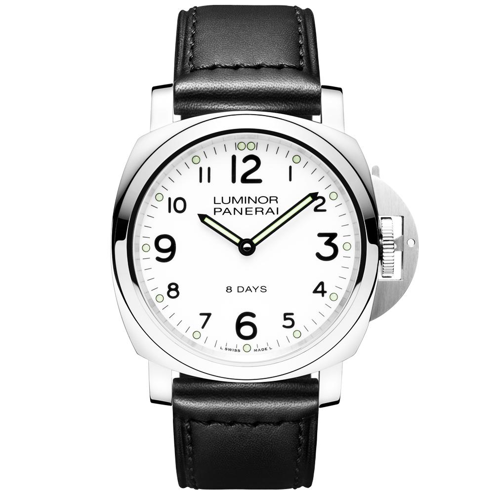 panerai luminor base 8 days white dial leather strap men s watch