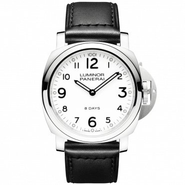 Luminor Base 8 Days White Dial & Leather Strap Men's Watch