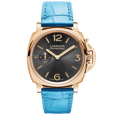 Luminor Due 3 Days Oro Rosso Men's Blue Leather Strap Watch