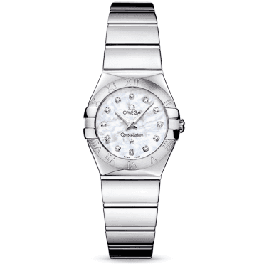 Constellation 24mm Steel & White Mother of Pearl Diamond Dial Watch