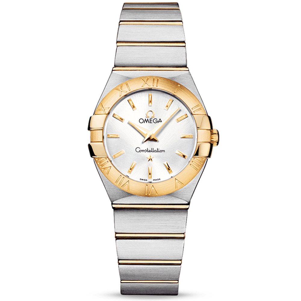 omega constellation 27mm steel 18ct yellow gold
