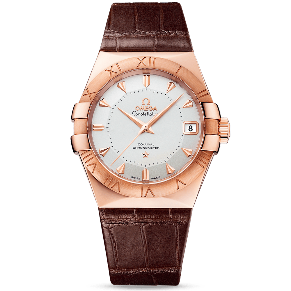Omega Constellation 38mm 18ct Sedna Gold Leather Strap ...