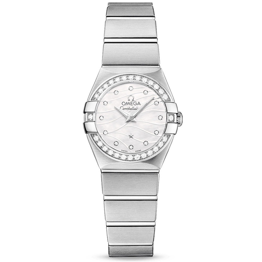 mop steel constellation diamond watch omega image watches ladies bezel dial