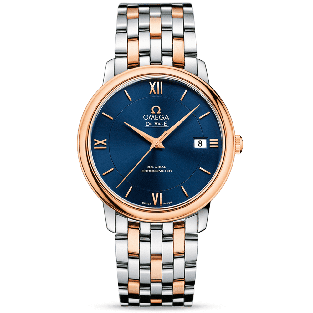 Omega De Ville Prestige 36 8mm Steel Rose Gold Blue Dial Automatic