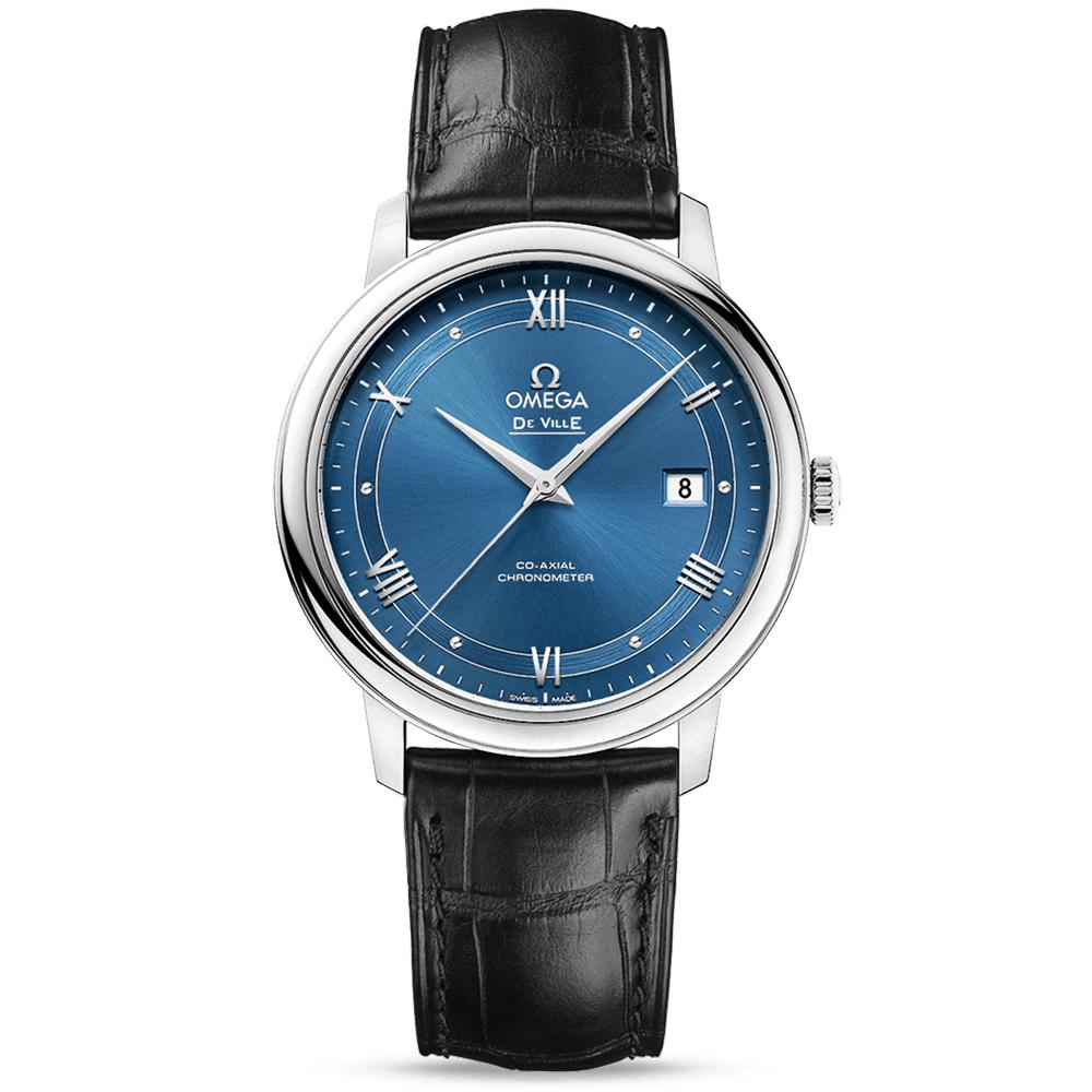 omega de ville prestige 395mm blue dial amp black leather