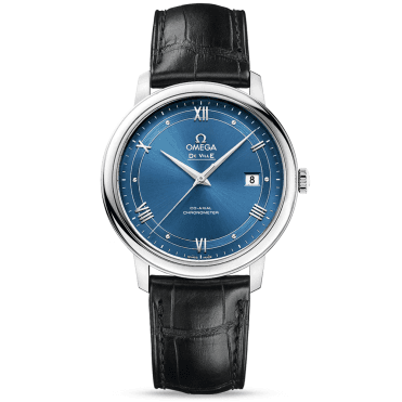 De Ville Prestige 39.5mm Blue Dial & Black Leather Strap Watch