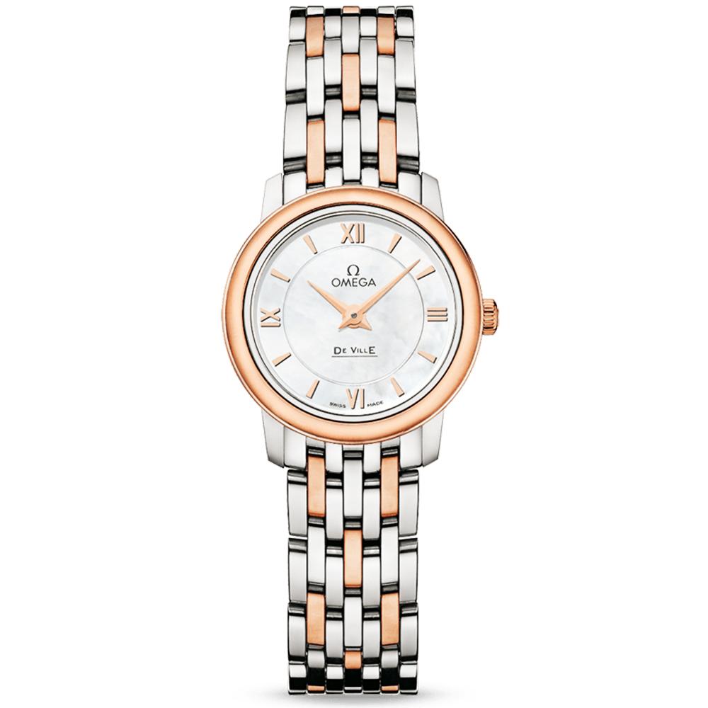 a53a18ffe35e Omega Omega De Ville Prestige Steel   18ct Rose Gold White MOP Dial Ladies  Bracelet Watch