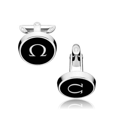 mania Stainless Steel & Black Lacquer Cufflinks