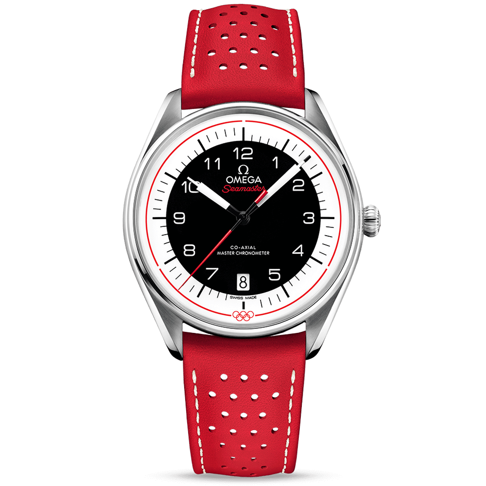 22213dfb3cc0 Omega Olympic Games Collection Black Red Dial   Leather Strap ...