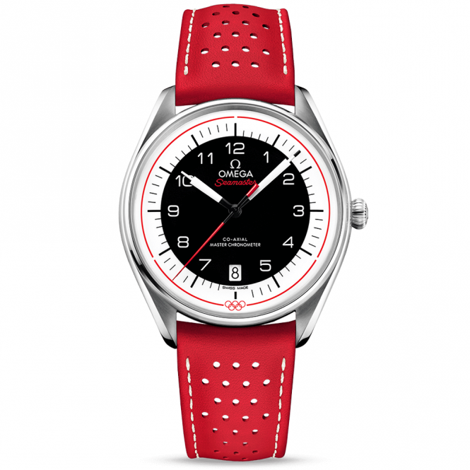 Omega Olympic Games Collection Black/Red Dial & Leather Strap Watch