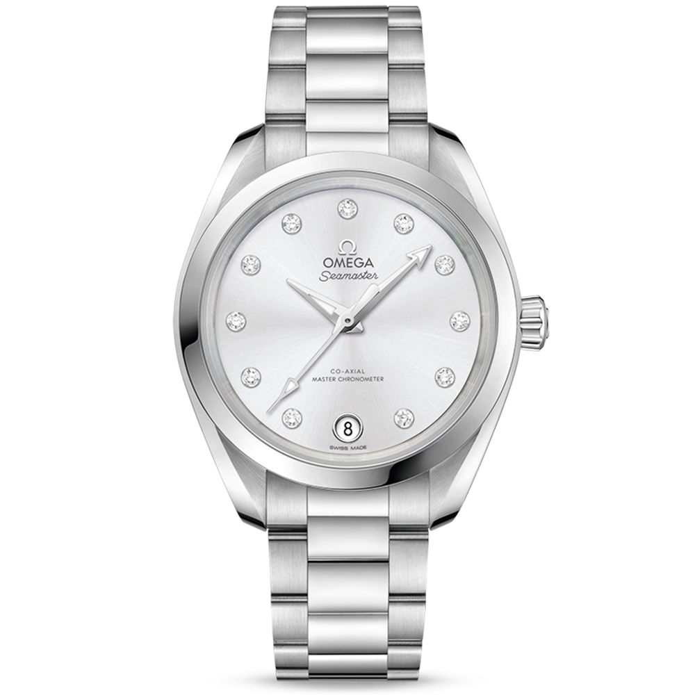 Omega Omega Seamaster Aqua Terra 34mm Glossy Silver Dial Ladies Bracelet  Watch 7c91928d18