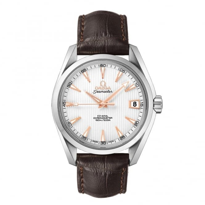 omega seamaster aqua terra automatic silver rose dial leather strap watch On omega leather strap