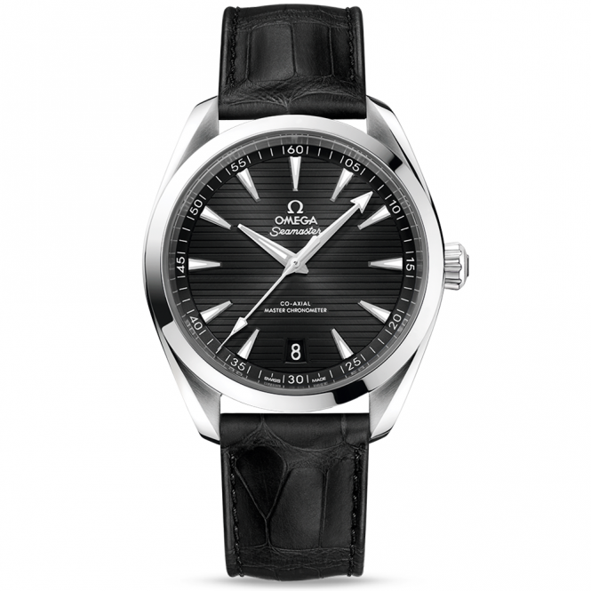 Omega Seamaster Aqua Terra 41mm Black Dial Men's Leather Strap Watch