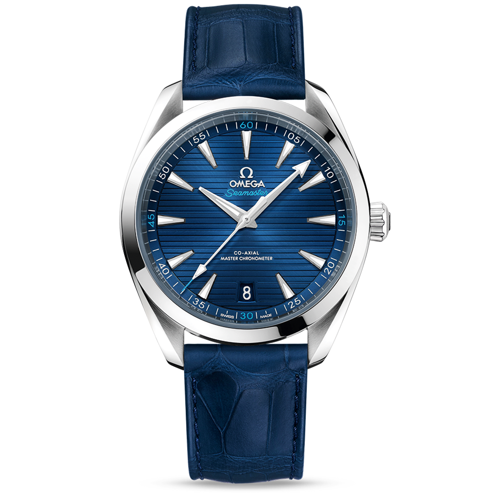 b30b813785416 Omega Omega Seamaster Aqua Terra 41mm Blue Dial Men s Leather Strap Watch
