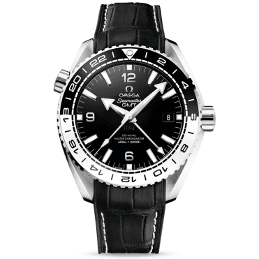 Seamaster Planet Ocean 600m Black/White Bezel Men's GMT Strap Watch