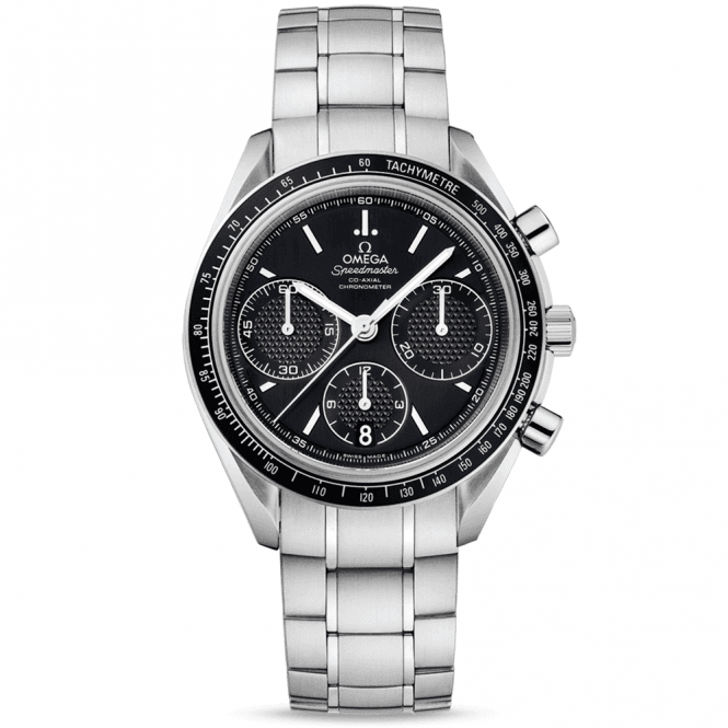 Omega speedmaster racing black dial bezel men 39 s bracelet watch for Men decagonal bezel bracelet