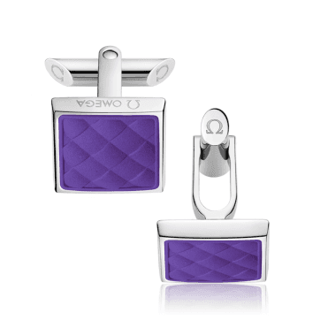 Steel & Violet Rubber Square Shaped Cufflinks