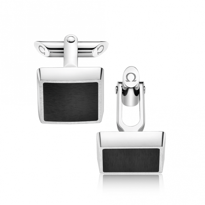 Omega Omegamania Steel & Black Brushed Satin Square Shaped Cufflinks