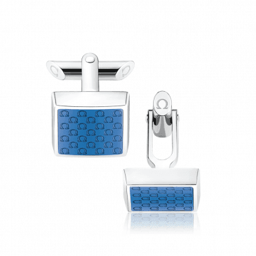 Omegamania Steel & Blue Resin Logo Square Shaped Cufflinks