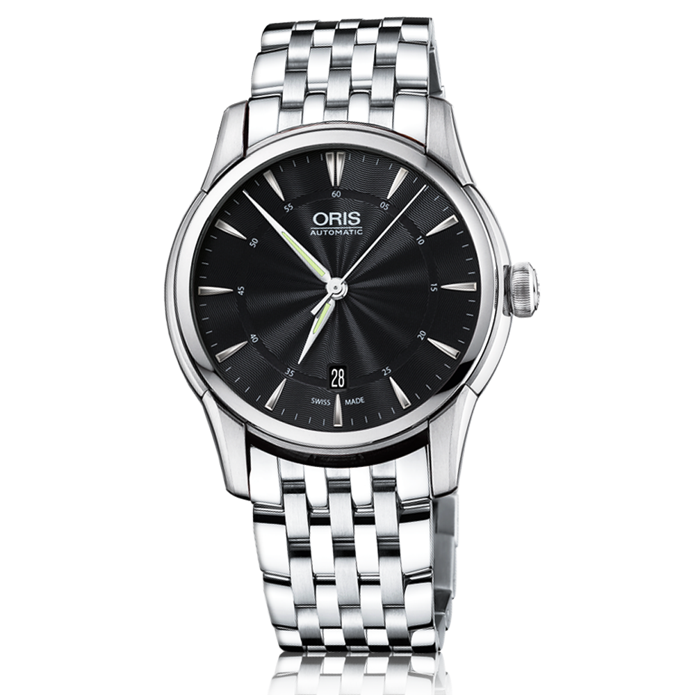 Oris artelier date 40mm black dial men 39 s bracelet watch for Watches 40mm