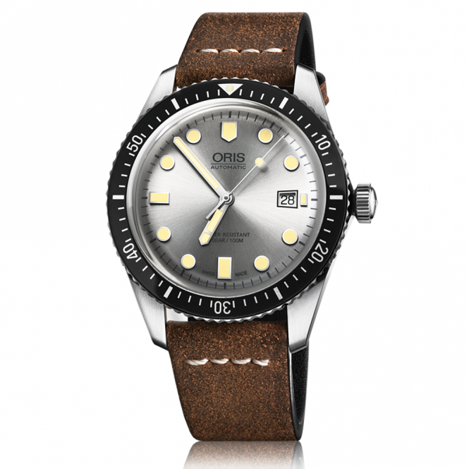Oris Divers Sixty-Five 42mm Silver Dial Leather Strap Men ...