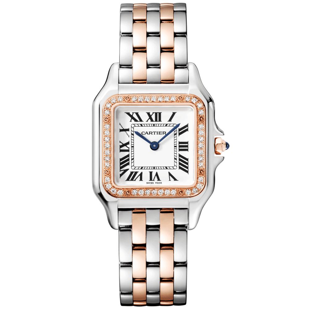 d2da8516bc3b Panthère de Cartier Medium 18ct Rose Gold  amp  Steel Diamond Bezel Watch
