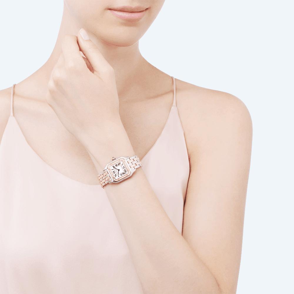 b619e551125a Panthère de Cartier Medium 18ct Rose Gold  amp  Steel Diamond Bezel Watch