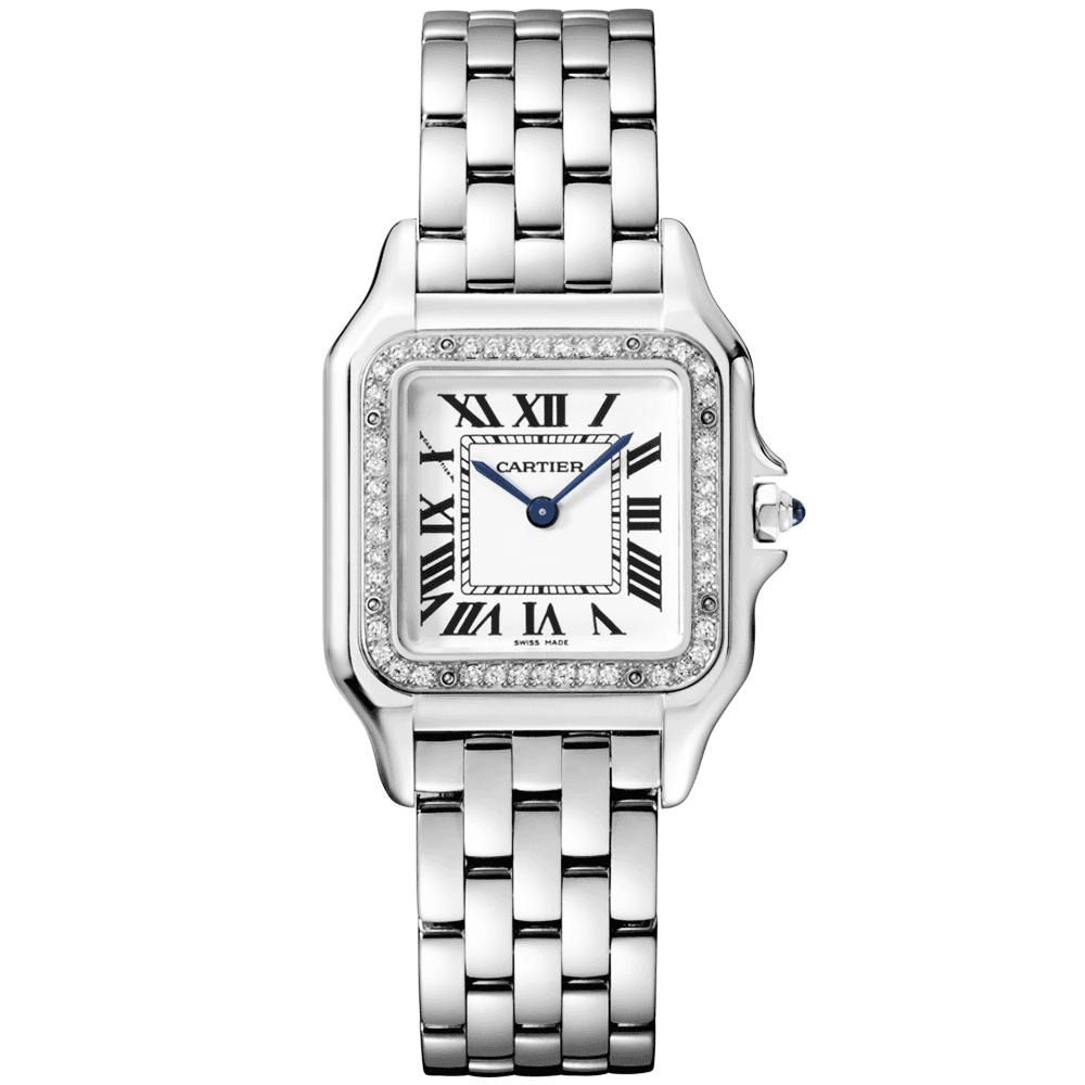 4e7bc88c584f Cartier Panthère Medium Steel   Diamond Bezel Ladies Bracelet Watch