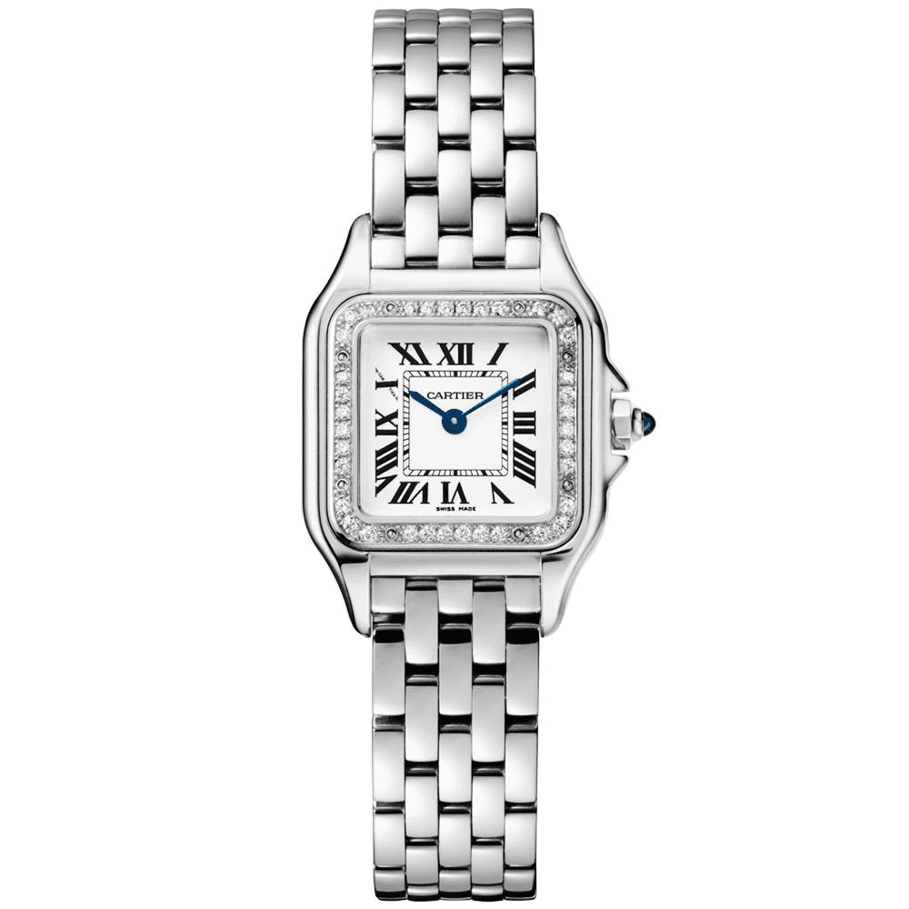 7eccda8d3719 Cartier Panthère Small Steel   Diamond Bezel Ladies Bracelet Watch