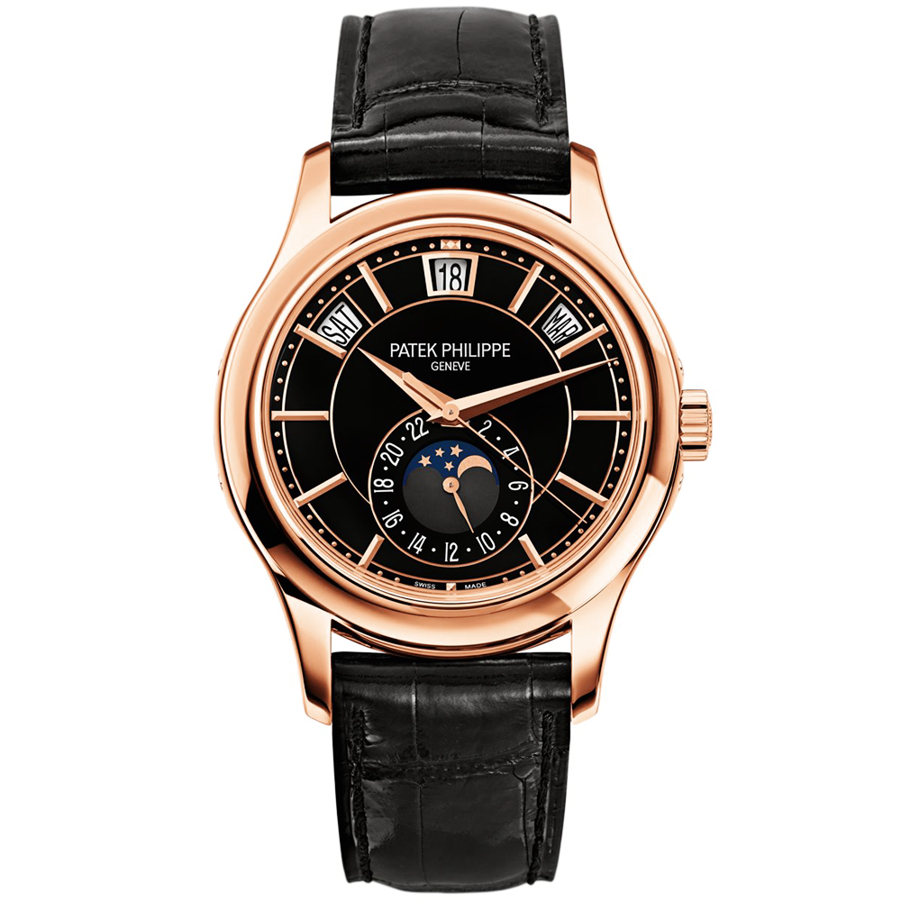 Patek philippe annual calendar 18ct rose gold black dial men 39 s watch for Patek phillipe watch