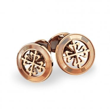 Calatrava 18ct Rose Gold Circular Cross Cufflinks