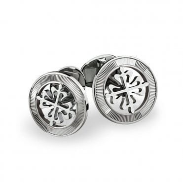 Calatrava 18ct White Gold Circular Cross Cufflinks