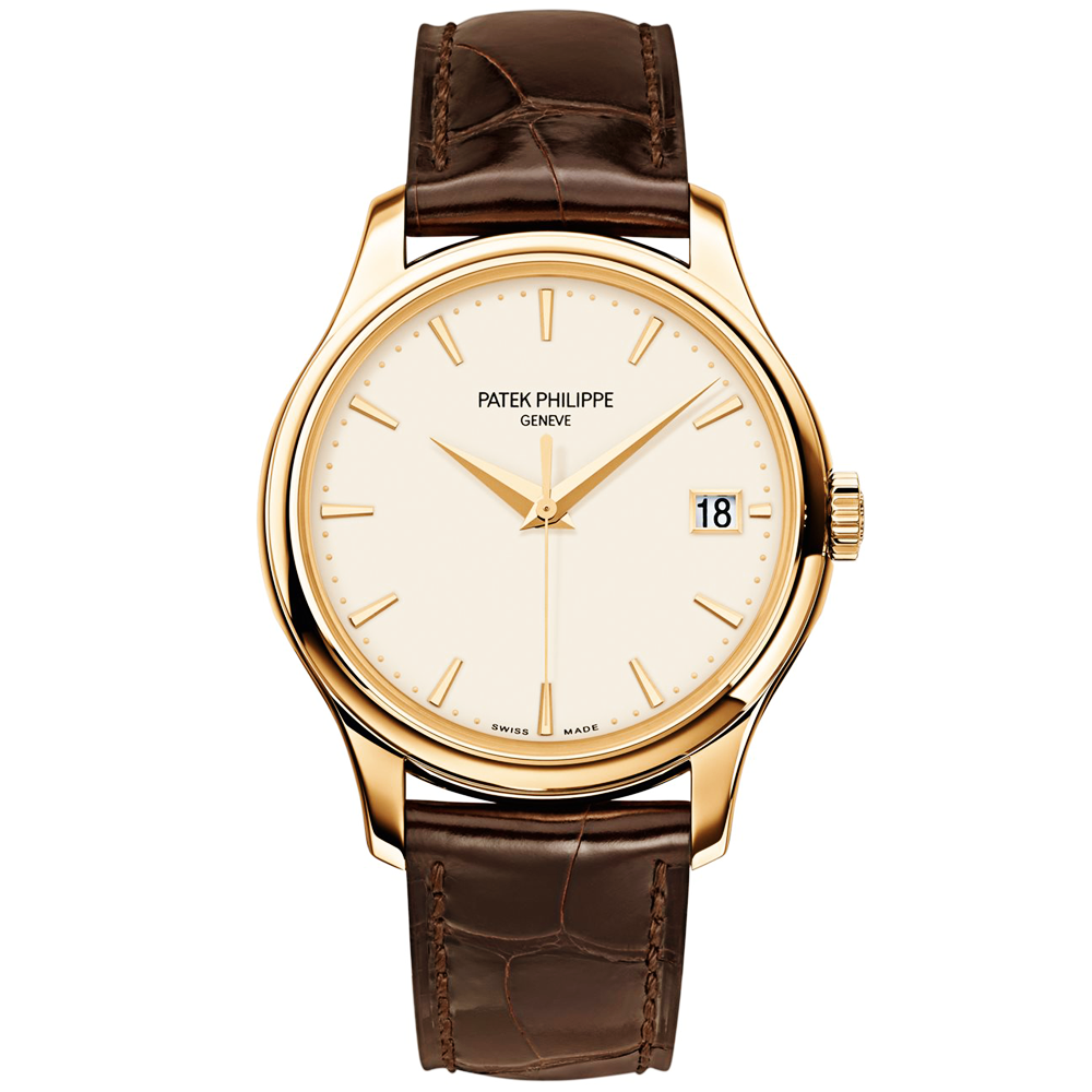 5083a7fa0c6 Calatrava 18ct Yellow Gold Ivory Dial Men  039 s Automatic Leather Strap  Watch