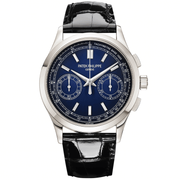 Complication Chronograph Platinum Blue Dial Manual Wind Men's Strap Watch