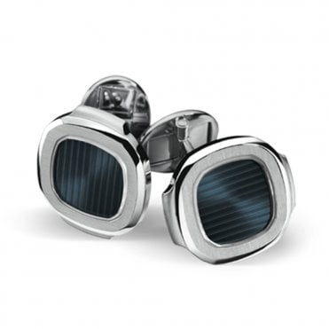 Nautilus 18ct White Gold & Blue Center Cufflinks