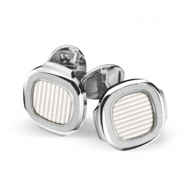 Nautilus 18ct White Gold & Silver/White Center Cufflinks