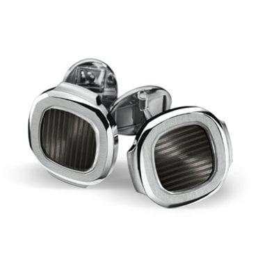 Nautilus 18ct White Gold & Slate Center Cufflinks