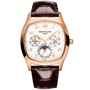 Perpetual Calendar 18ct Rose Gold & Silver Dial Men's Leather Strap Watch