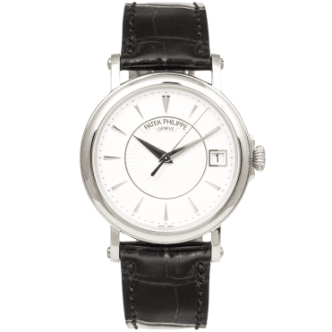 Calatrava Officer's Case Back 18ct White Gold Men's Leather Strap Watch