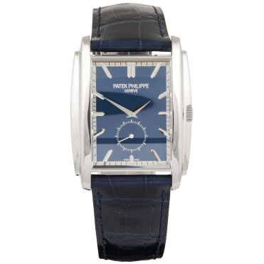 Gondolo 18ct White Gold Blue Dial & Leather Strap Men's Watch