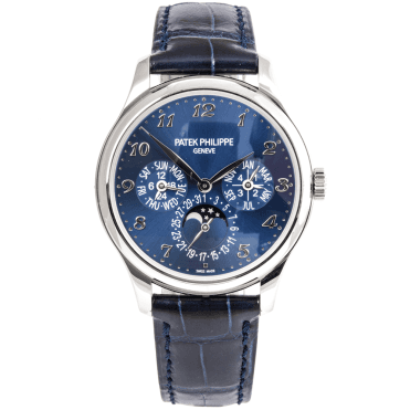 Grand Complication Perpetual Calendar 39mm 18ct White Gold Blue Dial Men's Strap Watch