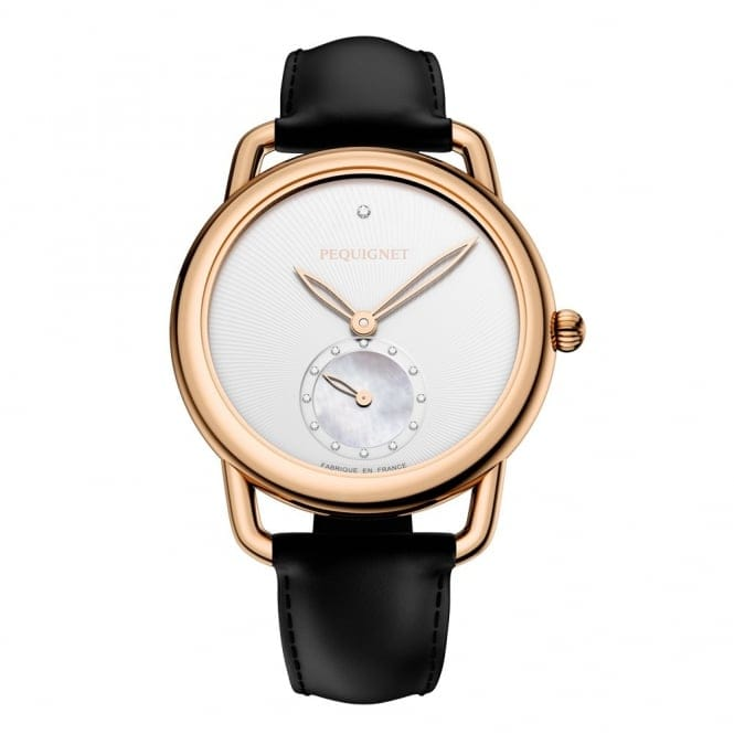 9bd52243a05 pequignet equus 40th anniversary 30mm rose pvd silver dial ladies black  leather stra.